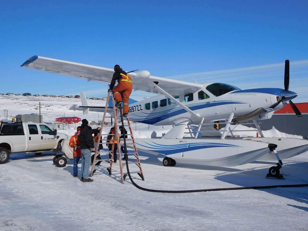 Fuelling at Frobisher Bay Airport in the Canadian Arctic before heading over the North Atlantic