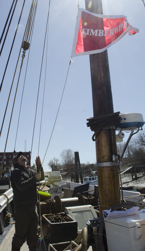 First time hauling up the new pennant flag with Captain Meadows.