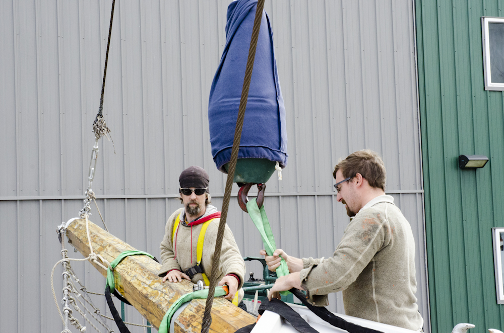 Captain Lance Meadows and First Mate Alan Castonguay made sure to check and recheck all the strapping.