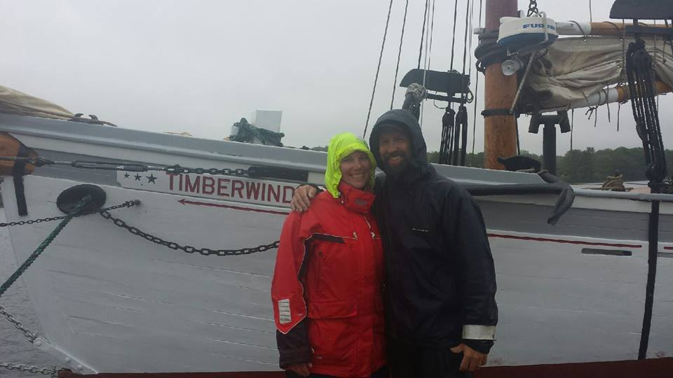 Captain meadows and Liz meadows on our first day of sail!