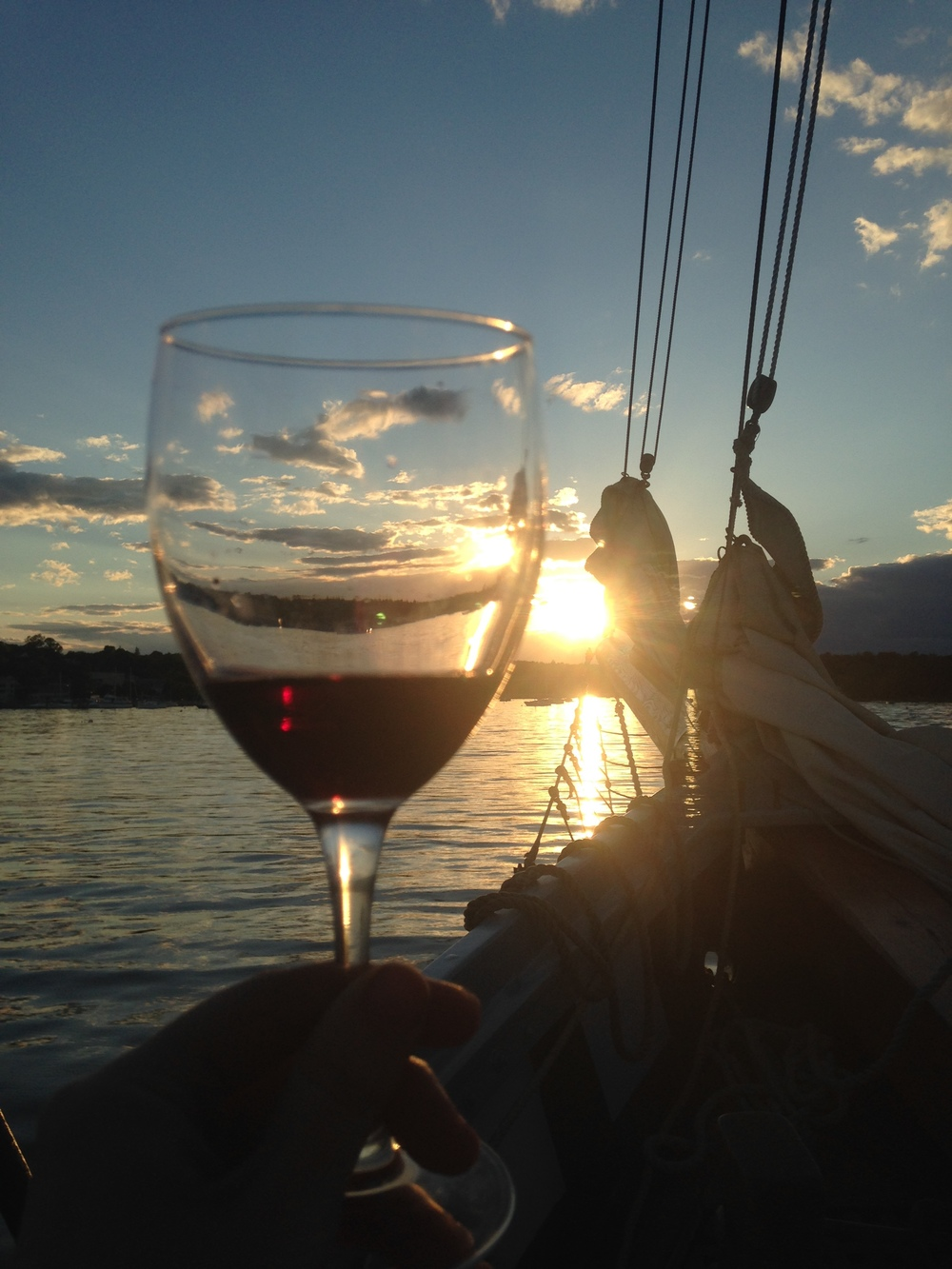 Sunset cruises are great with wine.