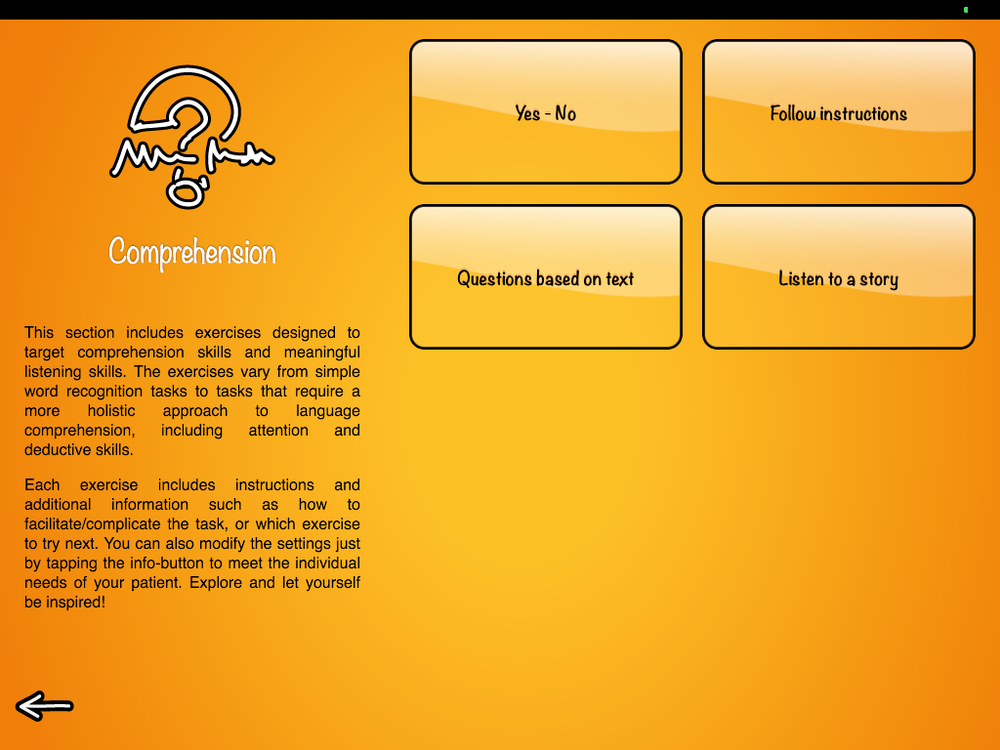 Comprehension menu