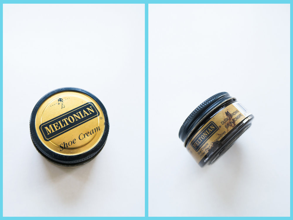 You can also get shoe cream from any shoe repair store, or online. The brand we are using is Meltonian in Dusky Brown. This brand also carries the colors Olive, and Black.