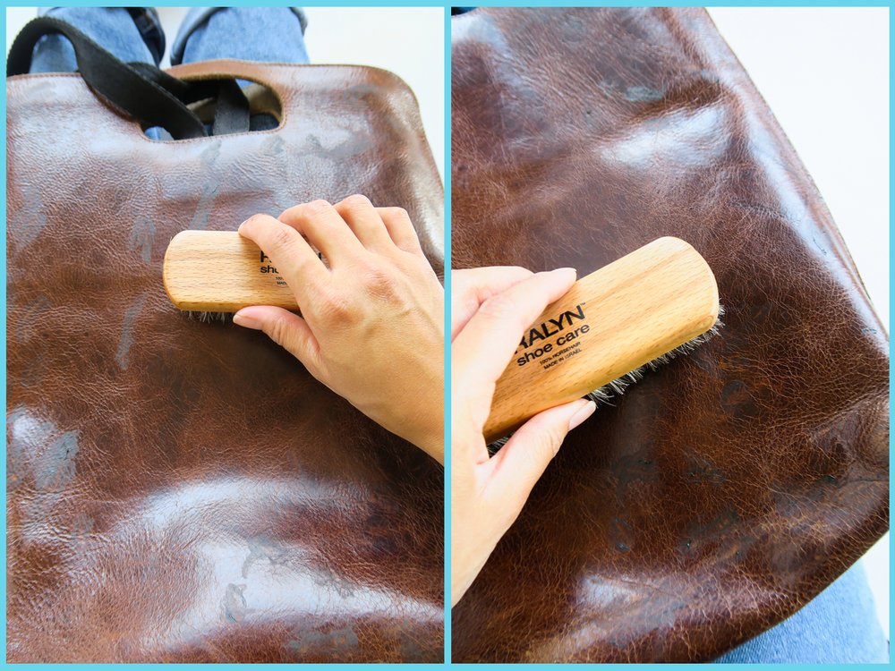 After each mark is filled, it's time to brush them in. Place one hand into the bag up against the area in which you will polish. Swoosh the brush in a side to side motion from left to right. You can also move the brush in a circular motion as well. Use a medium amount of pressure, not too light nor too hard. You are basically polishing the leather.