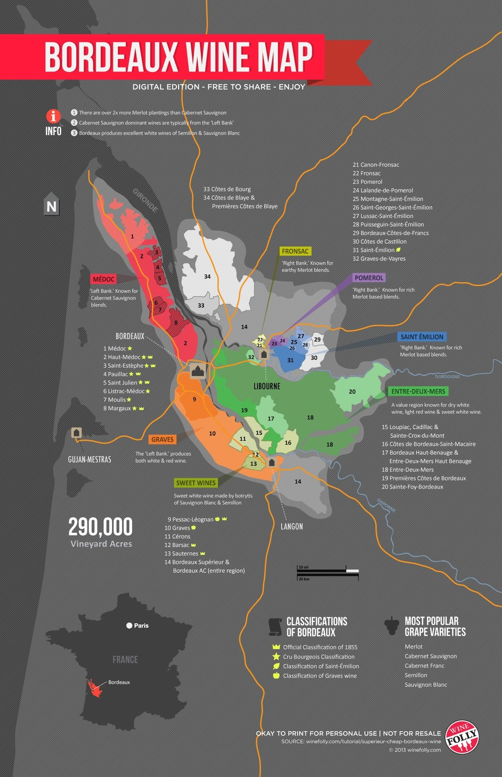 Bordeaux Wine Map, courtesy of Wine Folly
