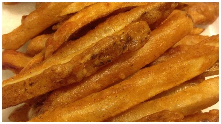 Real fries - Never frozen . Fried, Hand-cut potatoes, made right here.
