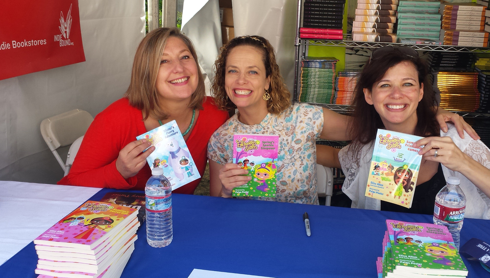 illustrator Paige Pooler and authors Halle Stanford and Elise Allen at a book signing event.