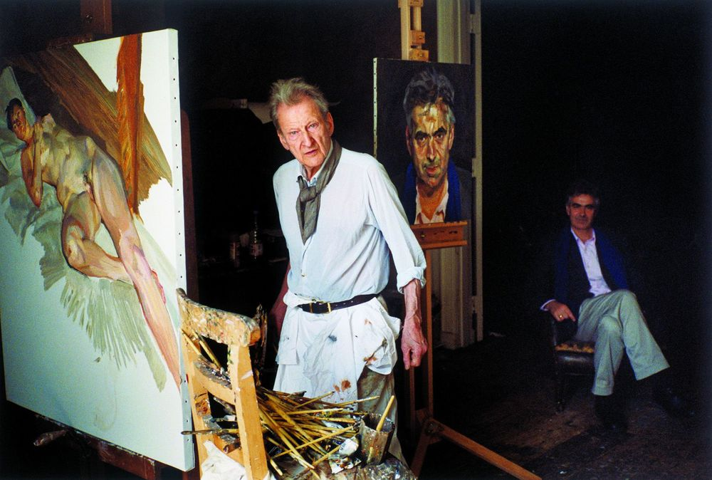 Lucian Freud with Martin Gayford. Photograph: David Dawson