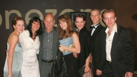 With fellow alumni including Patrick Stewart and Adrea Deck at the Bristol Old Vic Theatre School 60th Anniversary Gala