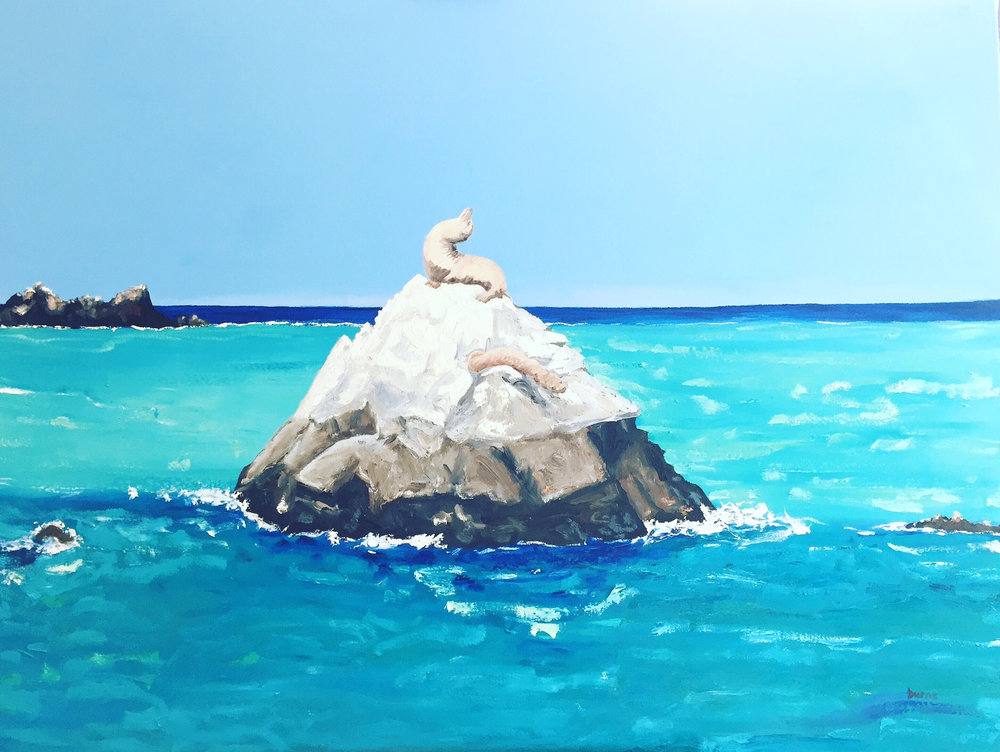 Californian Sea Lions 2016 by Stephanie Burns, painted off the coast of Catalina