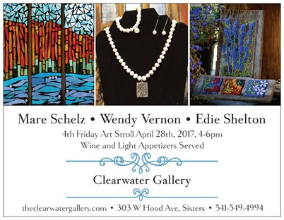 Clearwater Gallery will be featuring Mare Schelz, Wendy Vernon and Edie Shelton during the 4th Friday Art Stroll. Mare will be presenting her newest work in glass mosaic's. The Mosaics have a colorful style that evokes a rustic and organic feel through the use of glass and its reflection.Wendy Vernon will be bringing in new jewelry just in time for Mothers Day! Timeless pearls and elegant stones bring classic beauty to Wendy's newest creations. Edie Shelton combines the beauty and utility of fused glass. She has new plant sticks, Kitchen oil's, vinegar and salt/pepper all embellished with colorful fused glass. Meet the artist's and enjoy wine and light appetizers from 4-6pm!