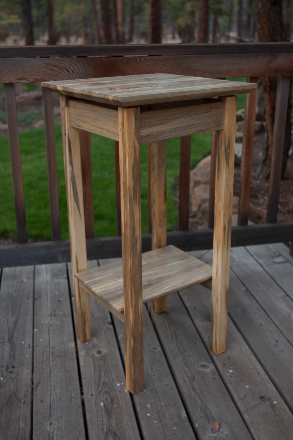 Pine Pedestal with Shelf by Bob Bousquet