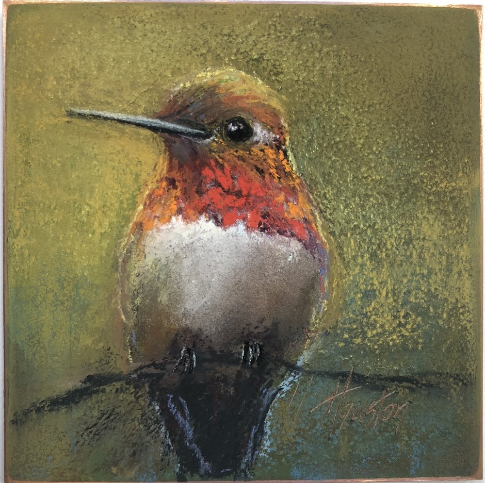 """Hummingbird"" 8x8, Pastel on copper $525"