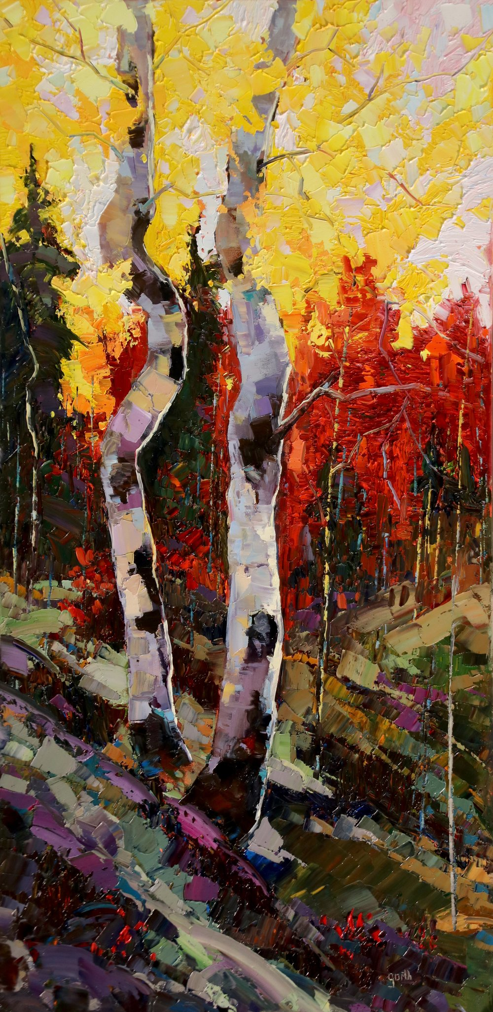 Red Maples, Oil, 24 x 48 $2,200