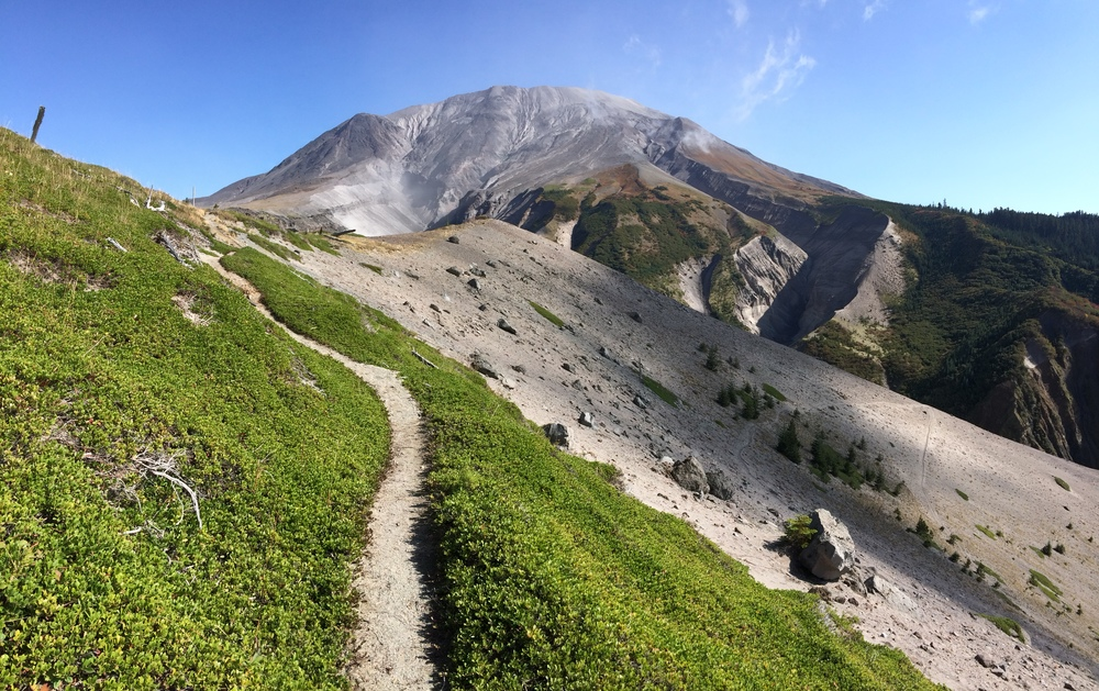 Mt. St. Helens and the Loowit Trail above the South Fork Toutle River on the western edge of the blast zone.