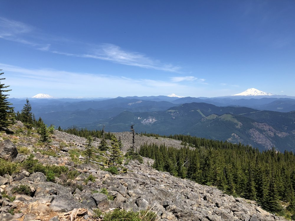 Mt. St. Helens, Mt. Rainier, and Mt. Adams (left to right).