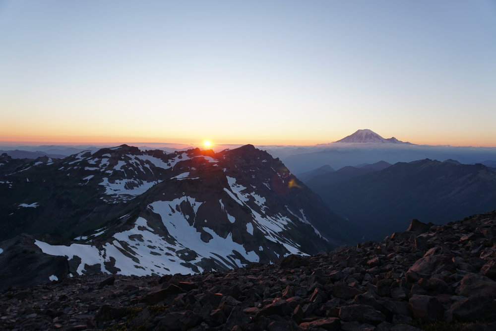 Sunset behind Johnson Peak with Mount Rainier.