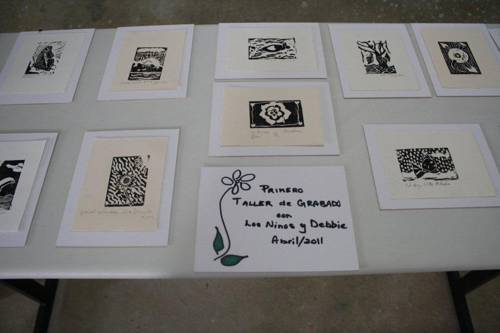 Linocut prints from childrens workshop