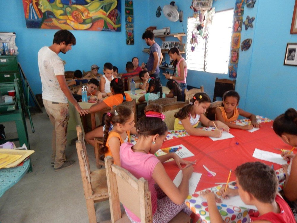 collage workshop with younger children