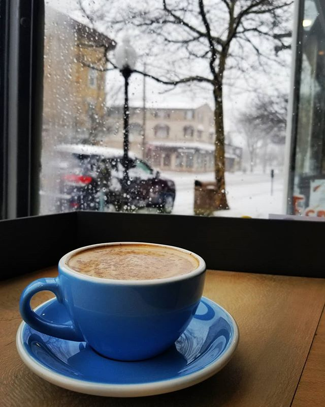 We are Open! Come in from the snow and enjoy a warm cup of Coffee. #jackjackscoffeehouse#snowstorm#coffee#cappuccino#latte#snow#open