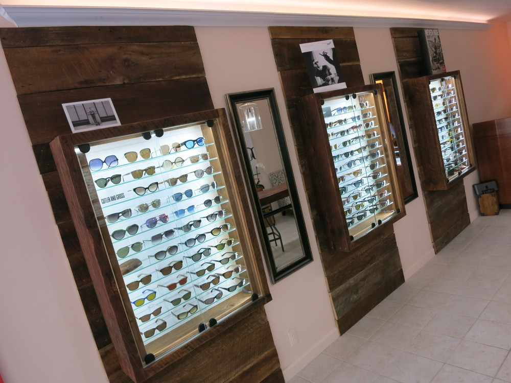 Cabinets and display cases for a new eyewear retailer in Lower East Side, Manhattan NYC, 2014. Reclaimed Doug Fir.