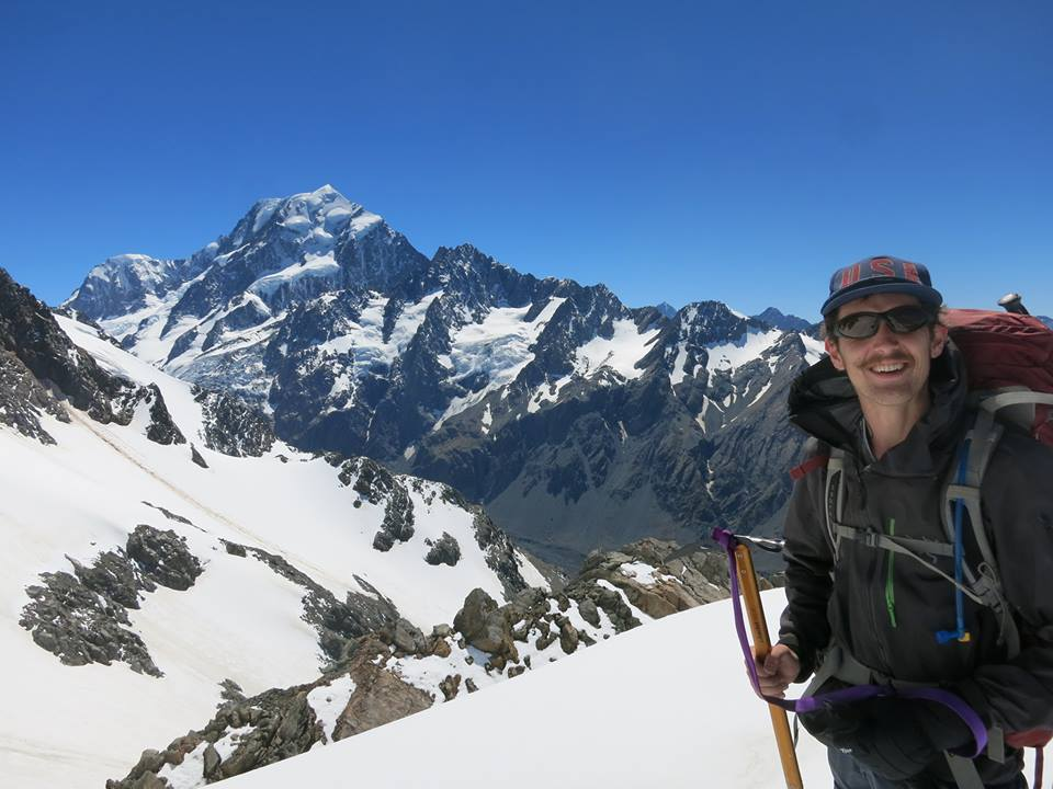 January 2015 - On top of the FitzGerald pass, south side of Aoraki in the background