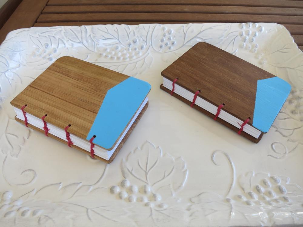 Coptic stitched notebooks, rimu/kwila, xmas 2015