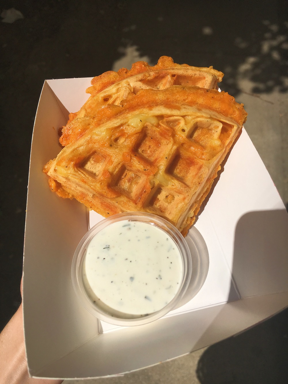 Our famous Mac and Cheese Waffles with Follow Your Heart Ranch.