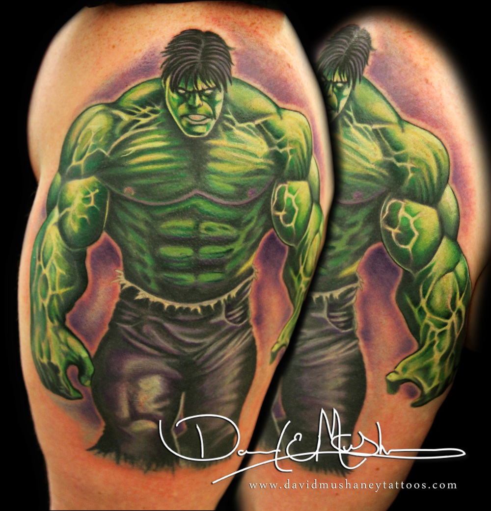 The Incredible Hulk Half-Sleeve Tattoo by David Mushaney