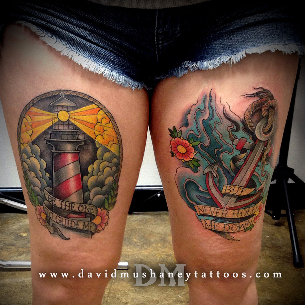 Matching Thigh Tattoos by David Mushaney