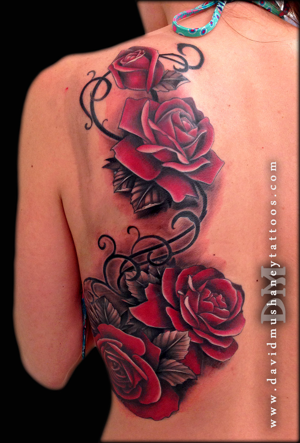 Red Roses Back Tattoo by David Mushaney