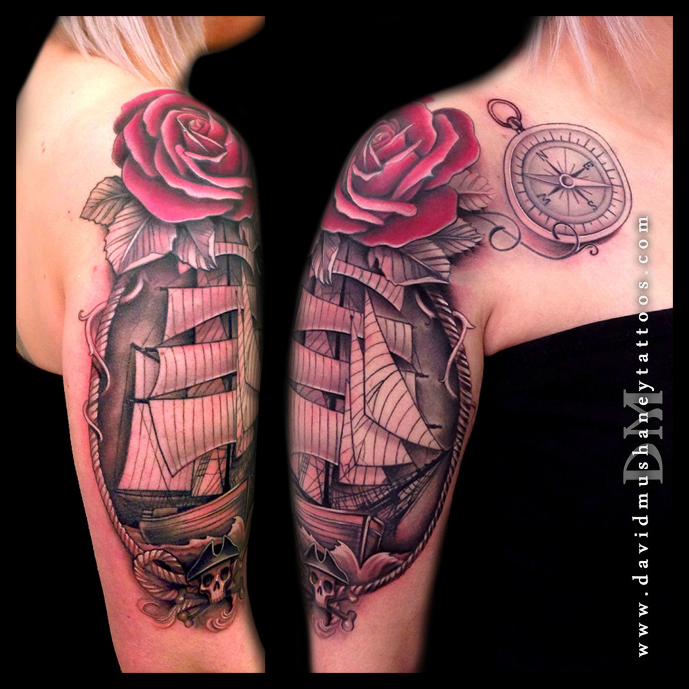 Ship Rose and Compass Tattoo by David Mushaney