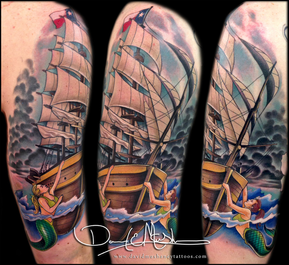 Sailboat and Mermaid Half-Sleeve Tattoo by David Mushaney