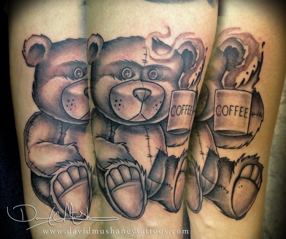 Black and Grey Memorial Teddy Bear Tattoo by David Mushaney