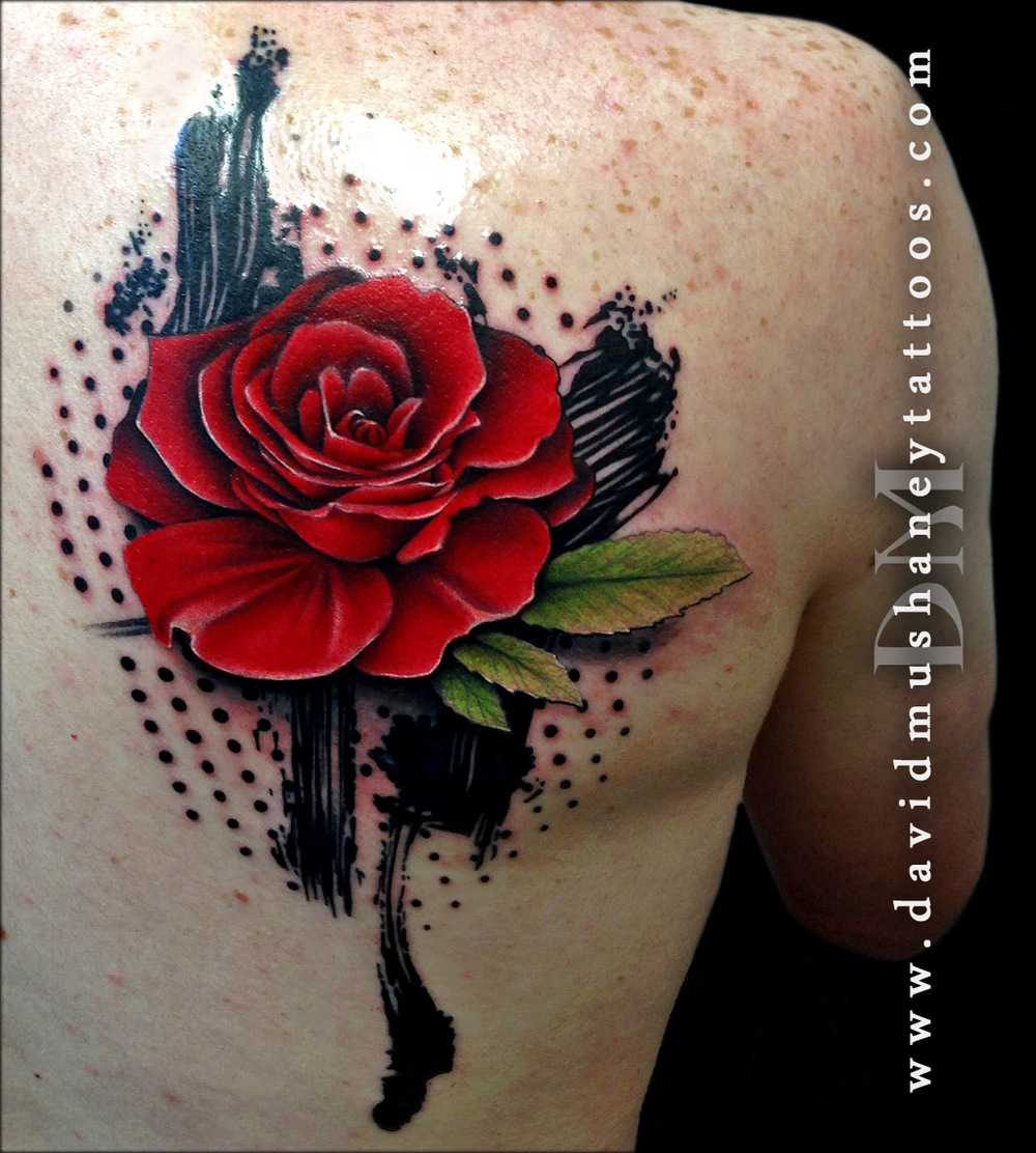Trash Polka Style Rose Tattoo by David Mushaney