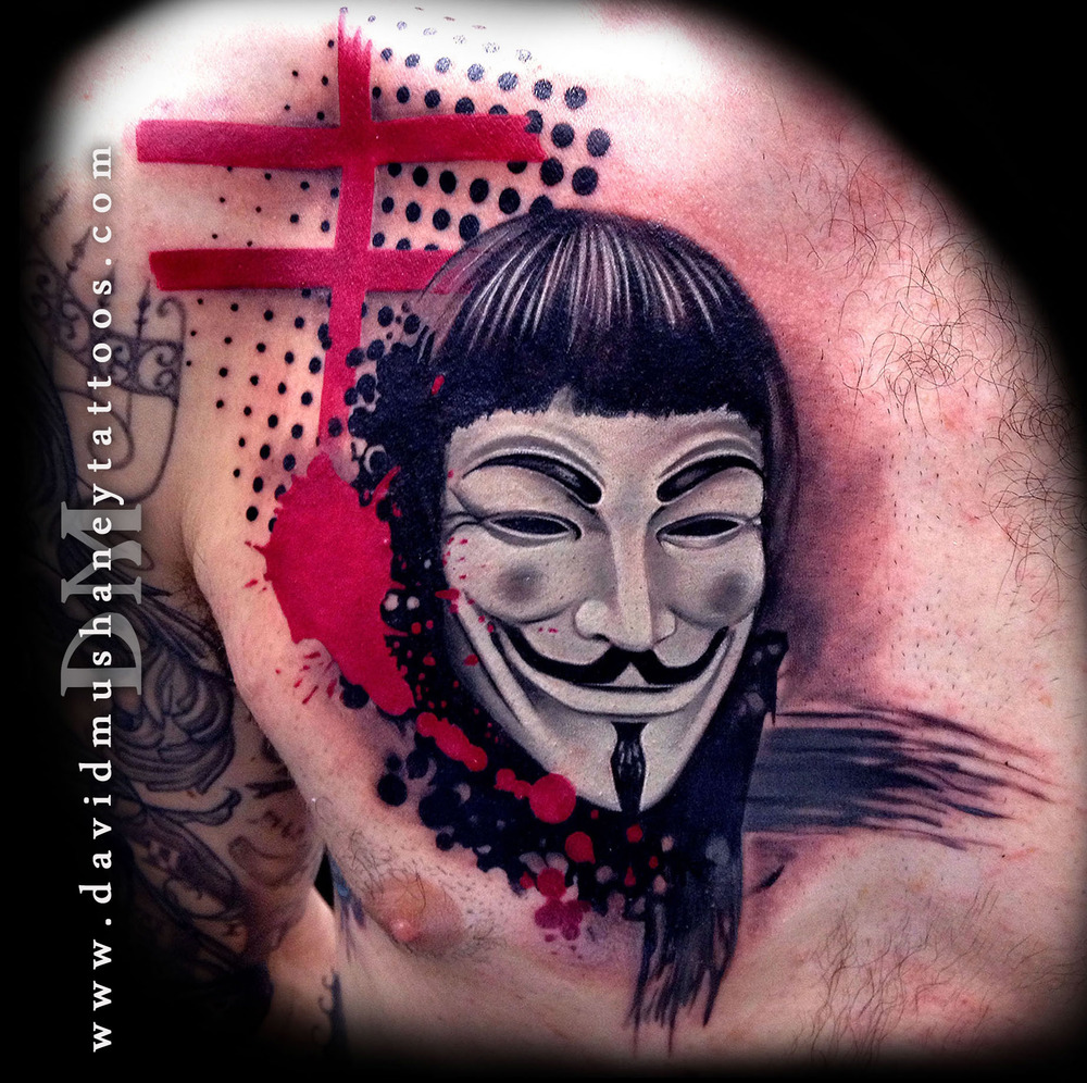 V for Vendetta Abstract Chest Tattoo by David Mushaney