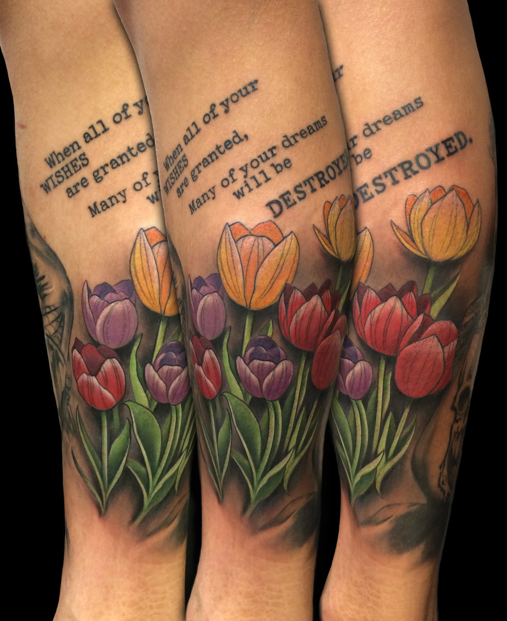 Colorful Tulip Leg Tattoo by David Mushaney