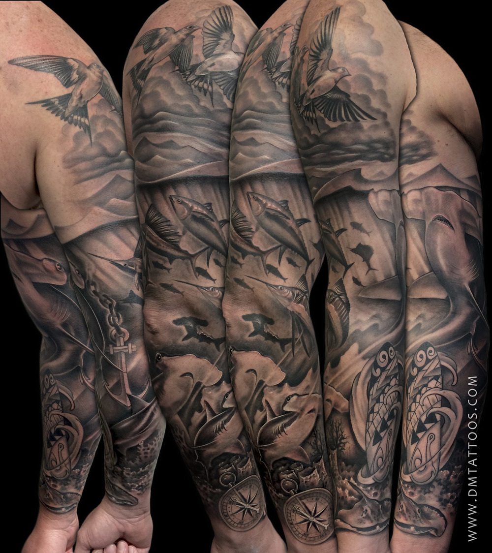 Black and Grey Underwater Scene Sleeve Tattoo by David Mushaney