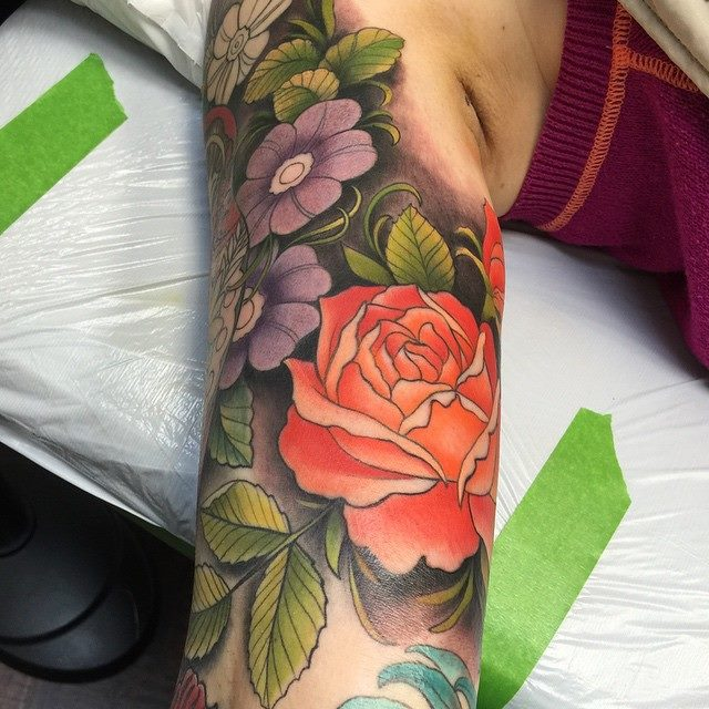 Colorful Flower Tattoo by David Mushaney