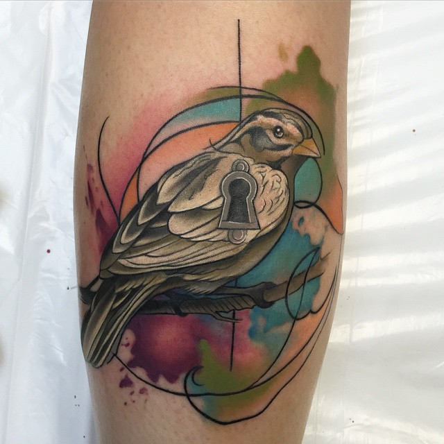 Abstract Watercolor Bird Tattoo by David Mushaney