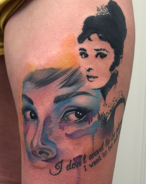 Aubrey Hepburn Watercolor Tattoo by David Mushaney
