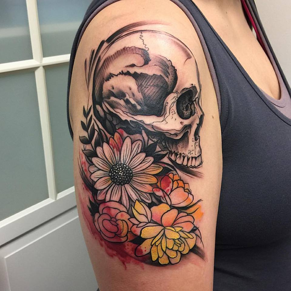 d01476ccf Watercolor Skull and Flowers Tattoo by David Mushaney