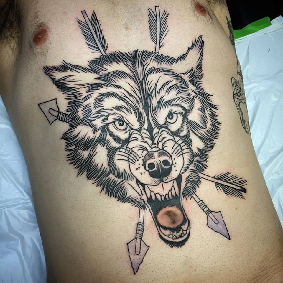 In Progress Blackwork Wolf Tattoo by David Mushaney