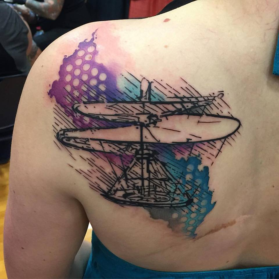 Abstract Watercolor De Vinci Flying Machine Tattoo by David Mushaney