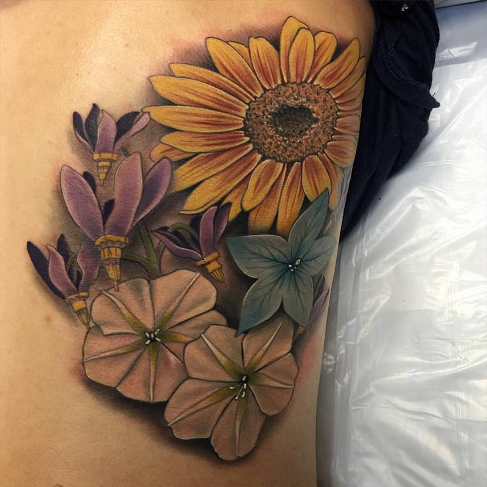 Colorful Realistic Floral Tattoo by David Mushaney