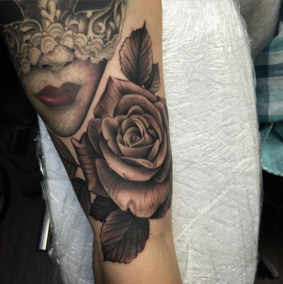 Black and Grey Realistic Rose Tattoo by David Mushaney