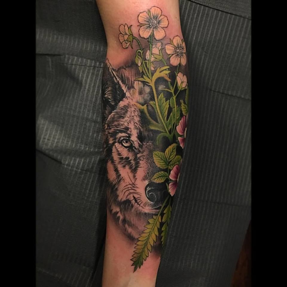 Wolf and Flower Tattoo by David Mushaney
