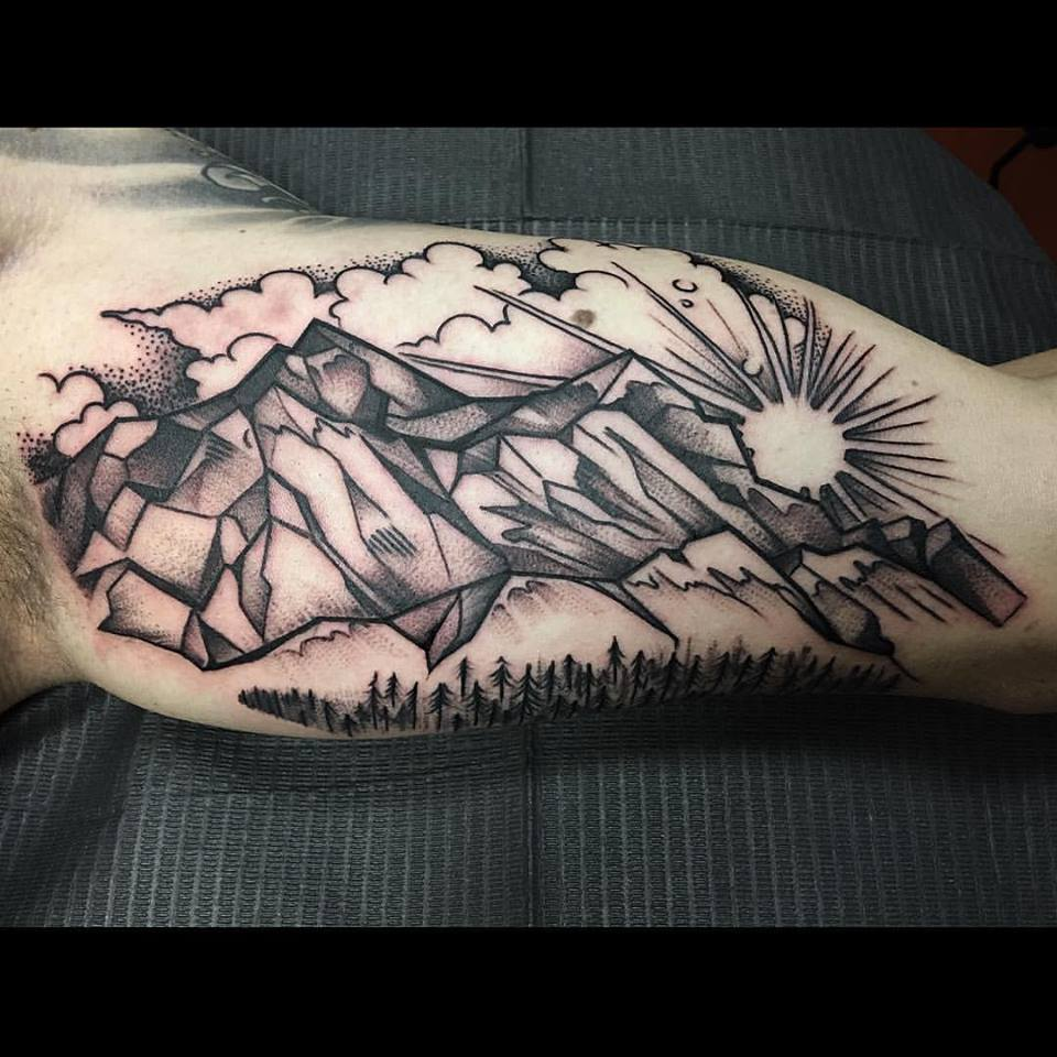 Blackwork Style Landscape Tattoo by David Mushaney