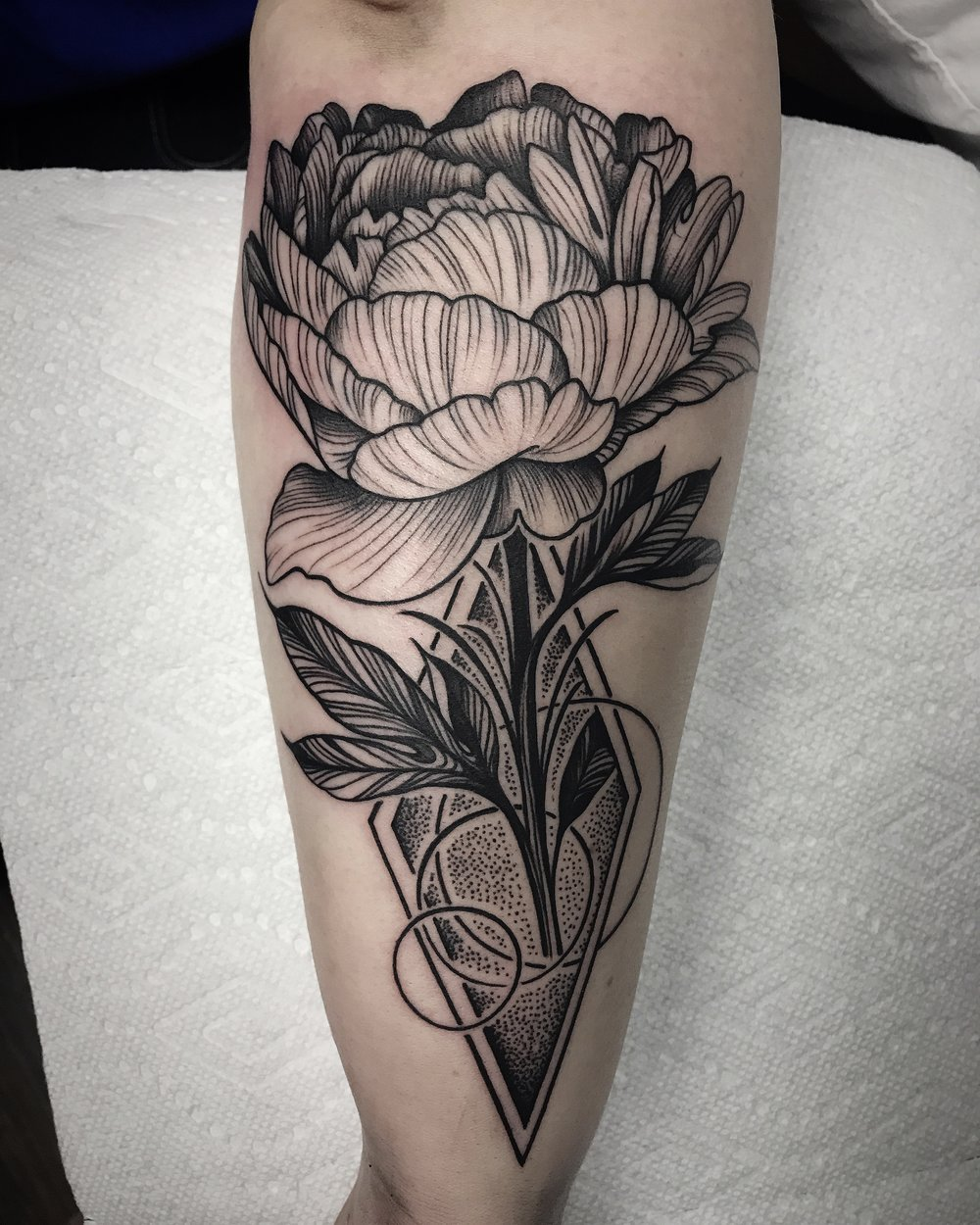 Blackwork Floral Peony Tattoo by David Mushaney