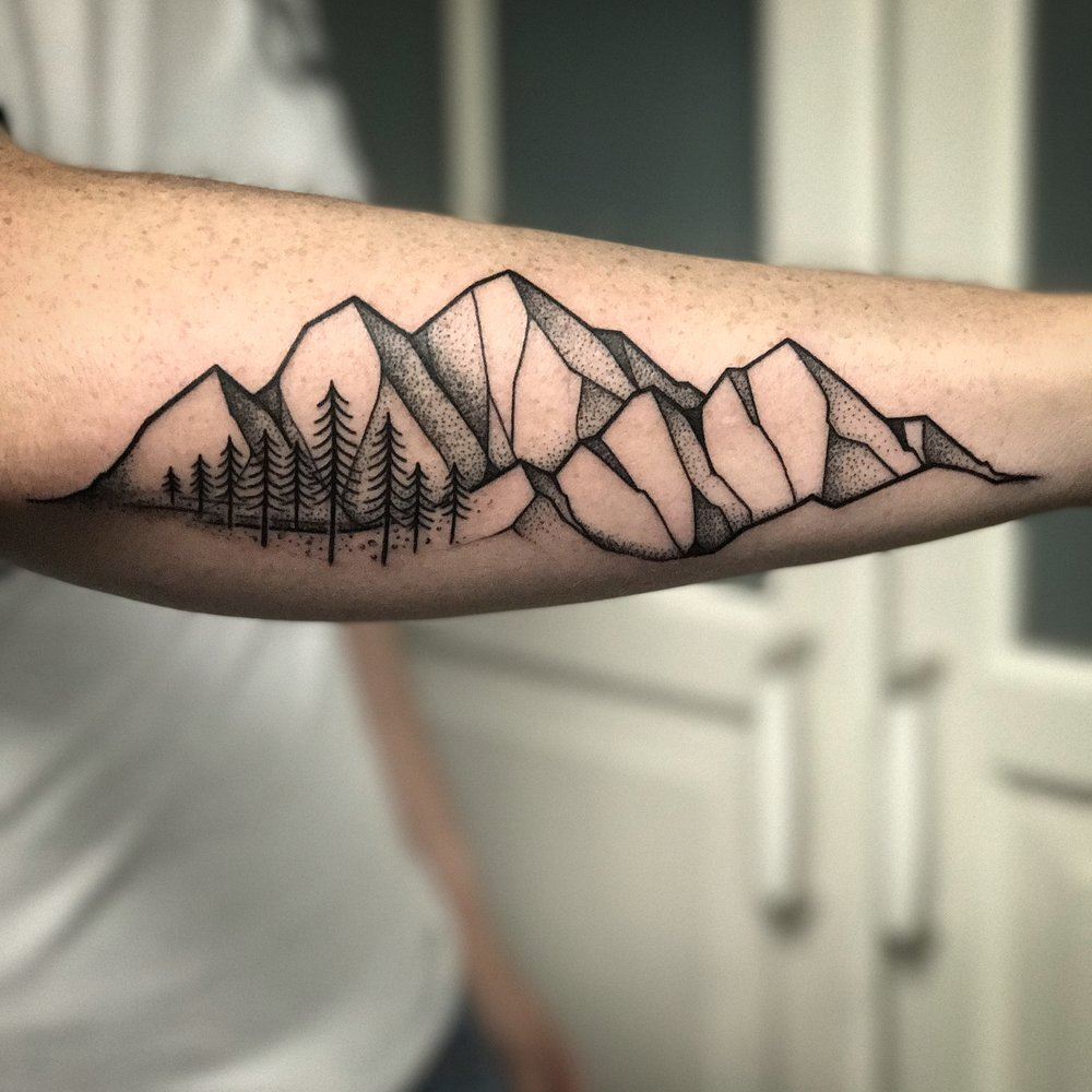 Blackwork Mountain Landscape Tattoo by David Mushaney